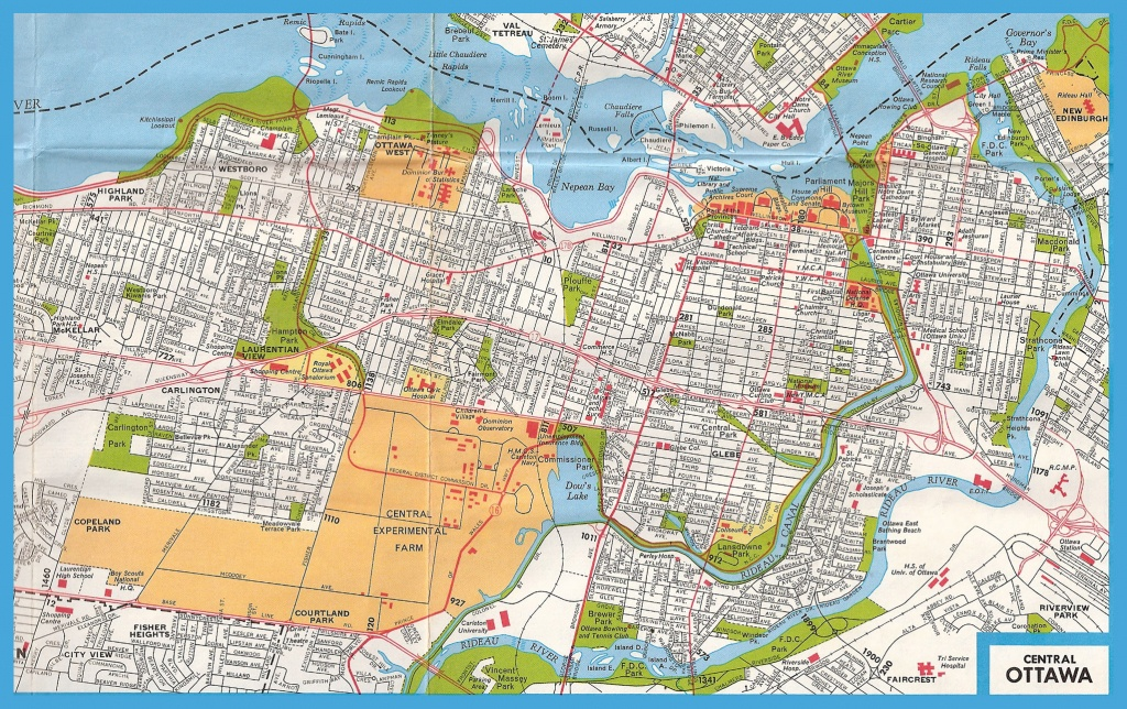 Large Road Map Of Central Part Of Ottawa With Street Names | Vidiani - Printable Map Of Ottawa
