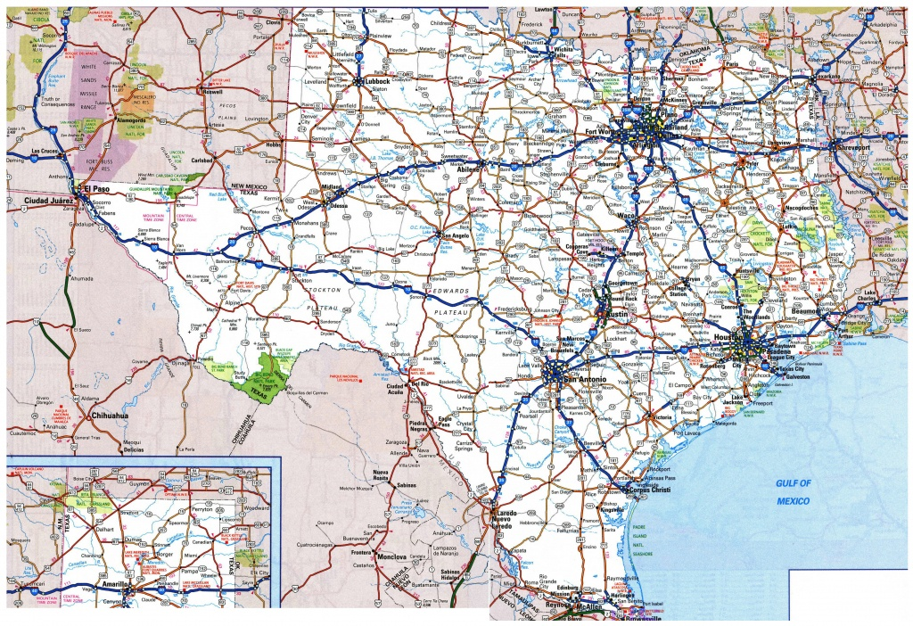 Large Roads And Highways Map Of Texas State With National Parks And - Map Of Texas Roads And Cities