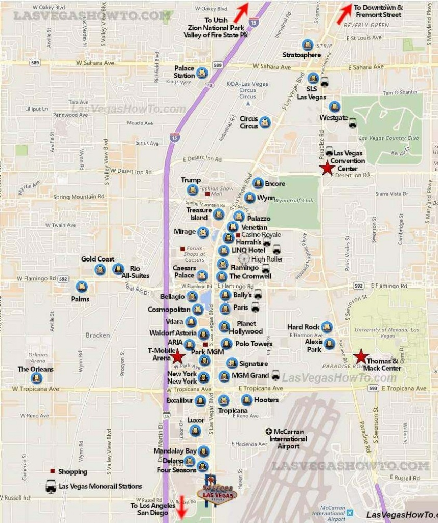 Las Vegas Strip Map (2019) | California, Etc. | Las Vegas Strip Map - Free Printable Map Of The Las Vegas Strip