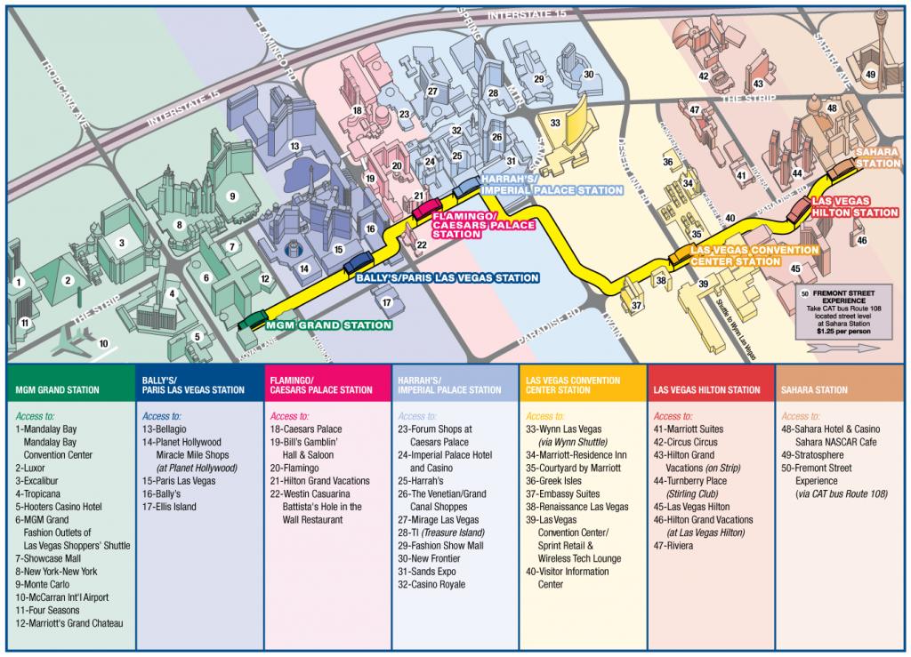 Las Vegas Strip Map Monorail | Las Vegas Possui Um Clima Semiárido - Las Vegas Strip Map 2016 Printable