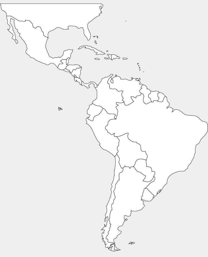 Latin America Blank Map Printable Central South World North Maps - Blank Map Of Latin America Printable