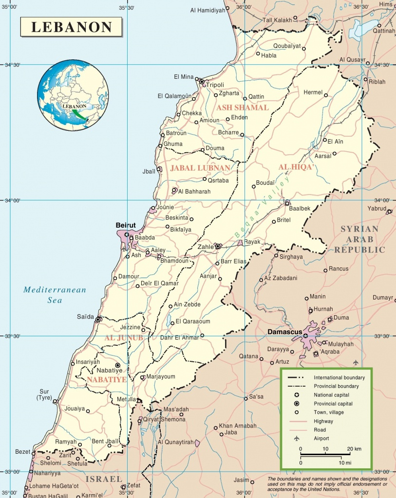 Lebanon Political Map - Printable Map Of Lebanon