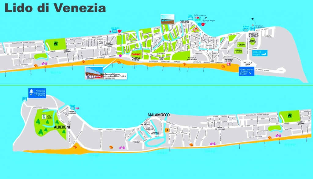 Lido Di Venezia Tourist Map - Lido Beach Florida Map