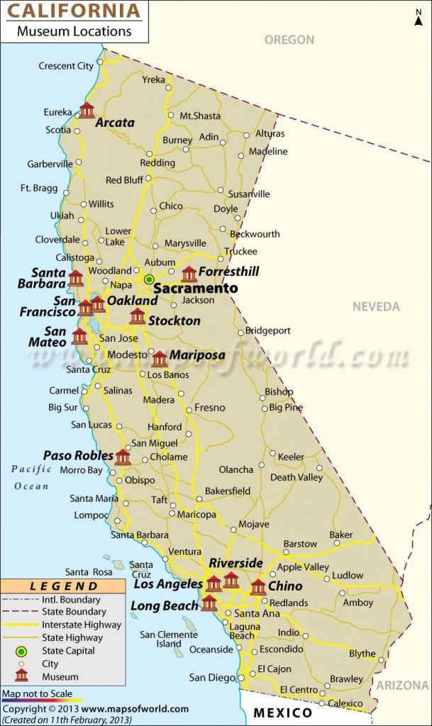 List Of Museums In California   California Museums Map - California Cities Map List