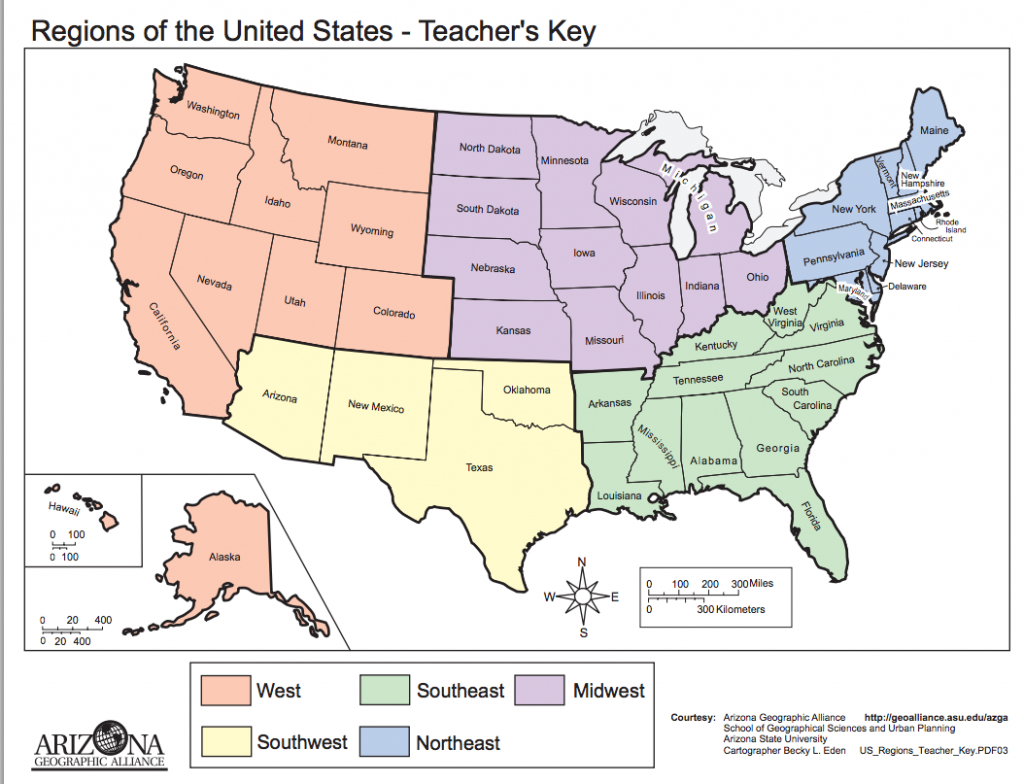 List Of Regions Of The United States - Wikipedia | Classroom-Social - Map Of The United States By Regions Printable
