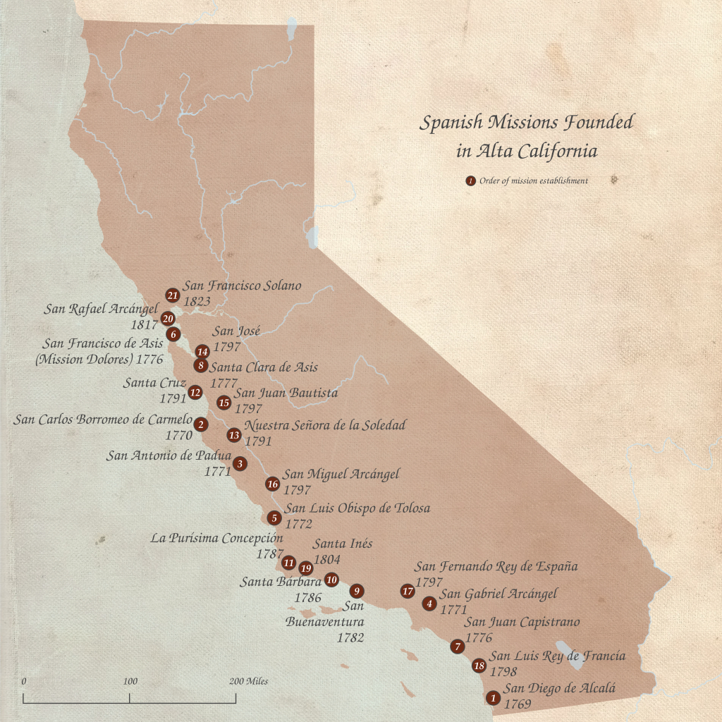 List Of Spanish Missions In California - Wikipedia - Southern California Missions Map