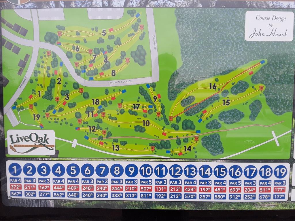 Live Oak City Park - Hillside | Professional Disc Golf Association - Texas Golf Courses Map