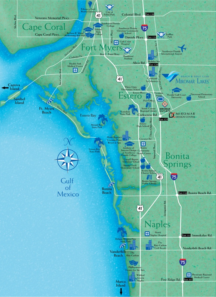 Locate Miromar Lakes, Florida - Just North Of Naples And Estero In - Map Of Bonita Springs And Naples Florida