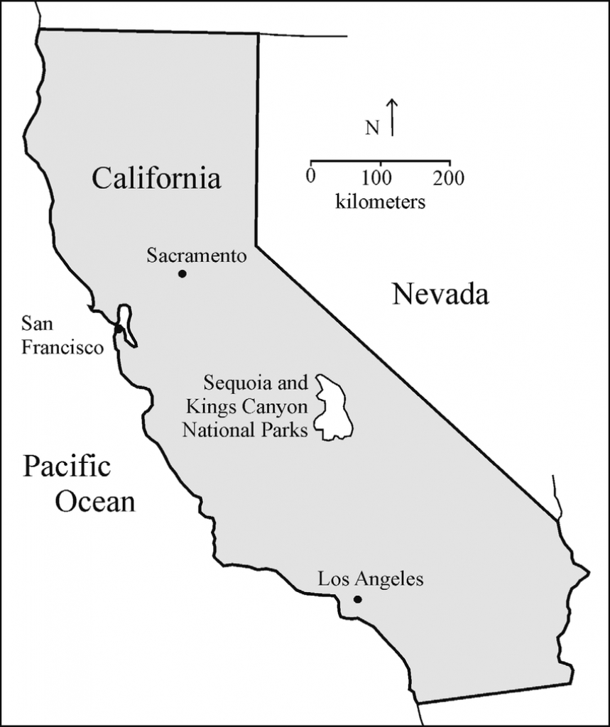 Location Map Of Sequoia And Kings Canyon National Parks, California - California National Parks Map