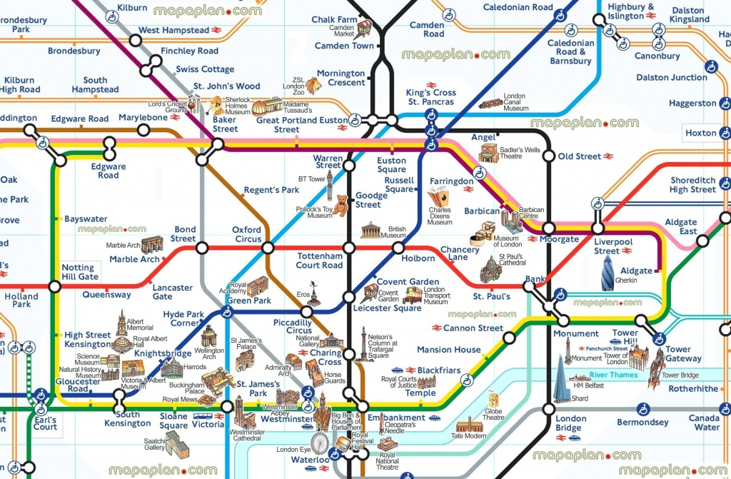 London Attraction Map With Tube – Uk Map - London Tourist Map Printable