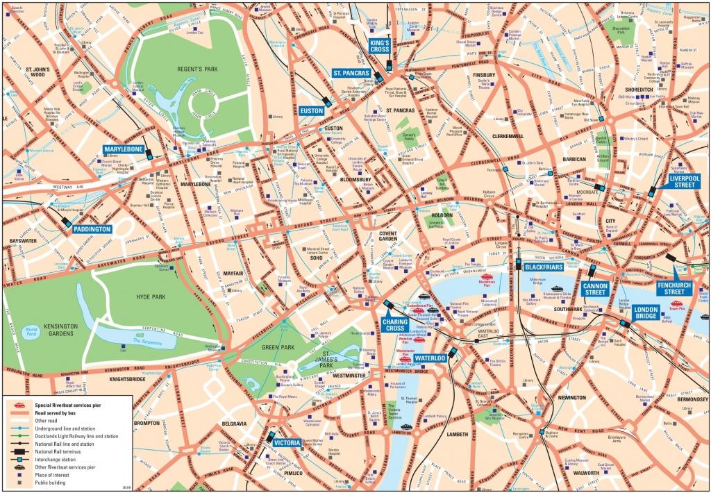 London City Center Map - Printable Street Map Of London