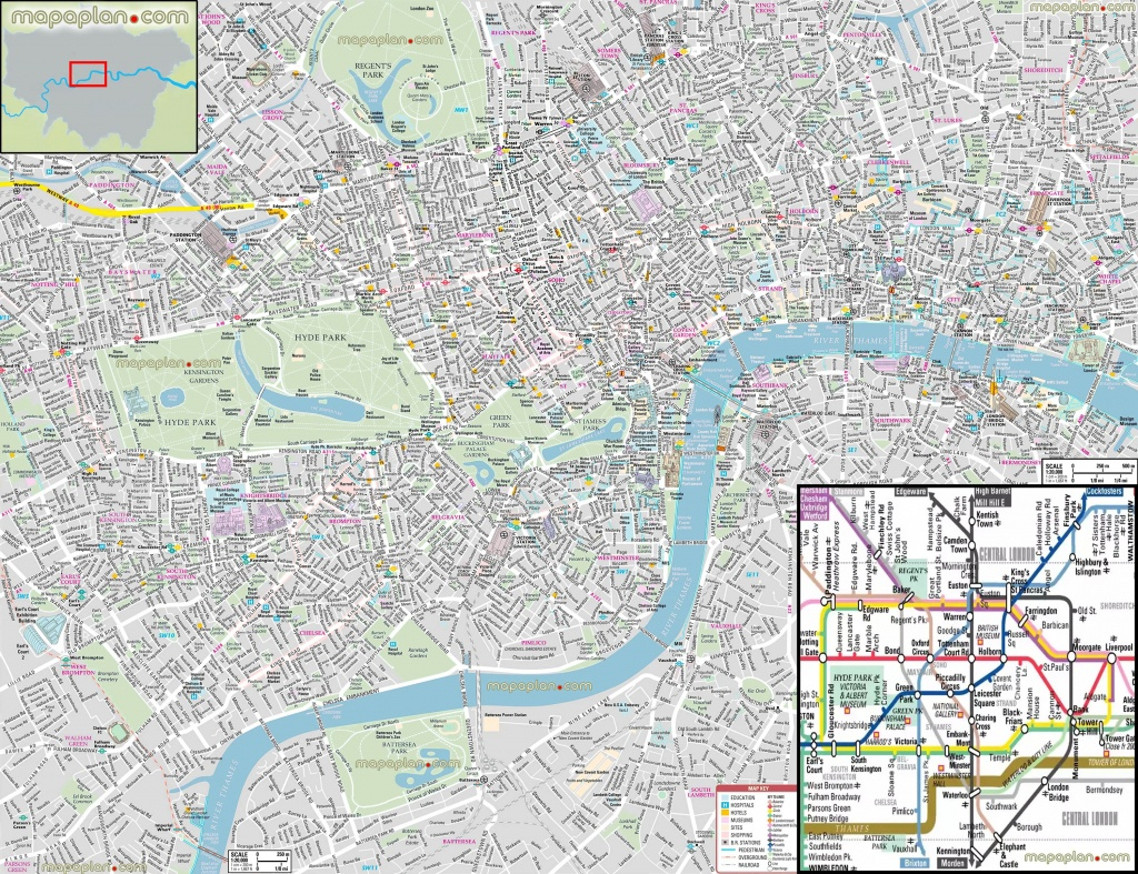 London Maps - Top Tourist Attractions - Free, Printable City Street - Printable Children's Map Of London