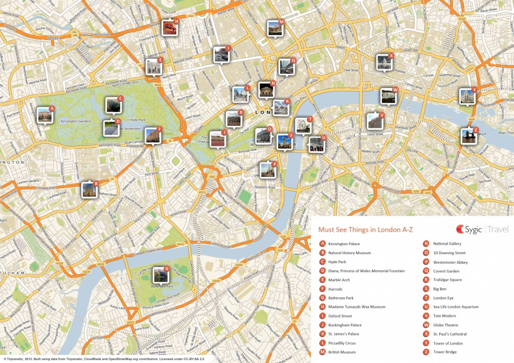 London Printable Tourist Map | Sygic Travel - Map Of London Attractions Printable