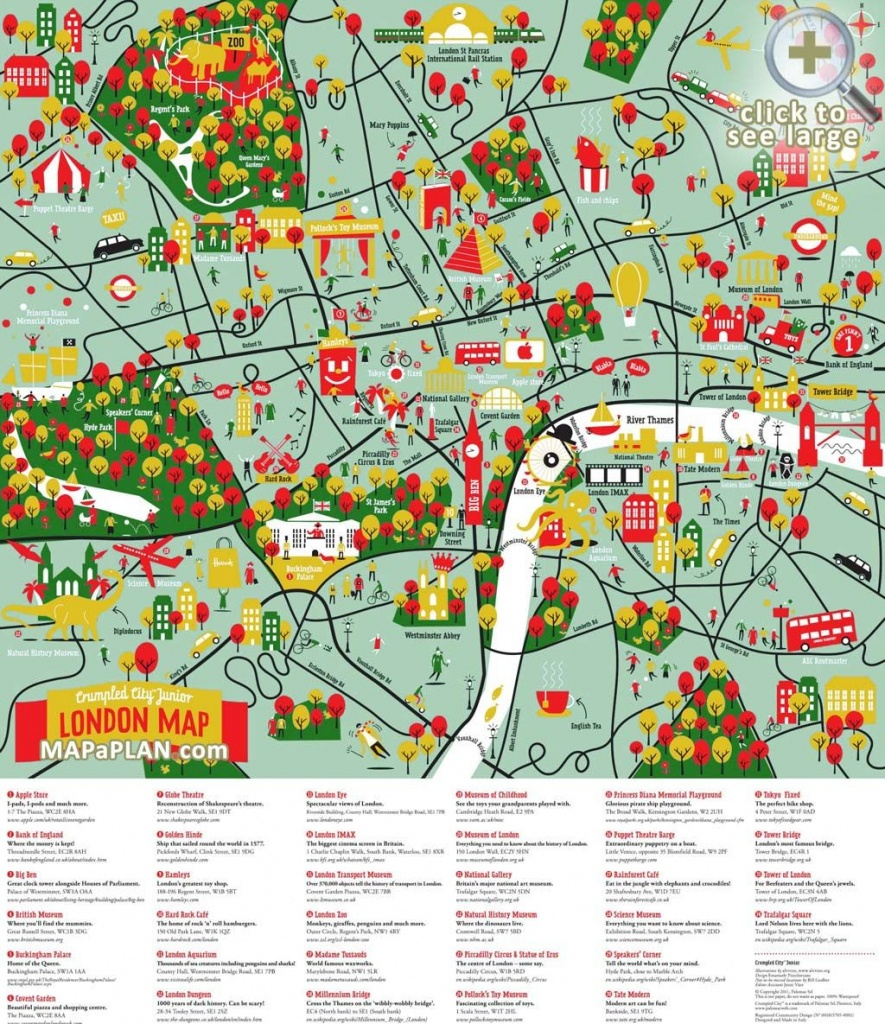 London Top Tourist Attractions Map Great Family Things To Do With - Printable Children's Map Of London
