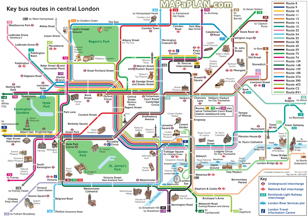 London Top Tourist Attractions Map Key Bus Routestourist - London Sightseeing Map Printable
