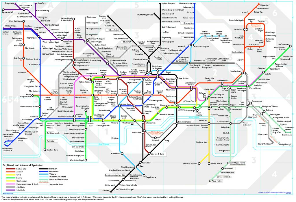 London Underground Map Translated Into German   Londoner U-Bahn-Plan - London Metro Map Printable