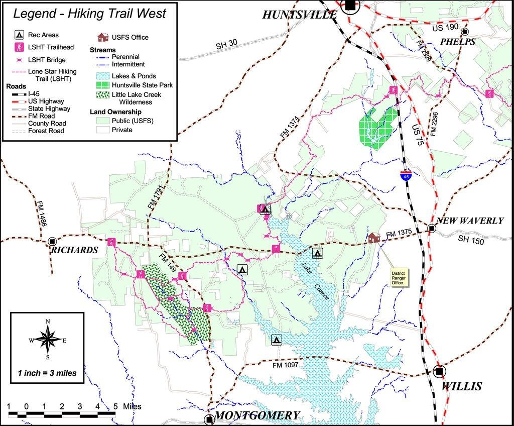 Lone Star Hiking Trail - Maplets - Texas Hiking Trails Map