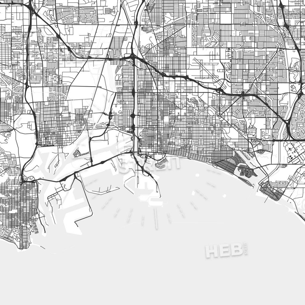 Long Beach, California - Area Map - Light - Map Of Long Beach California And Surrounding Areas