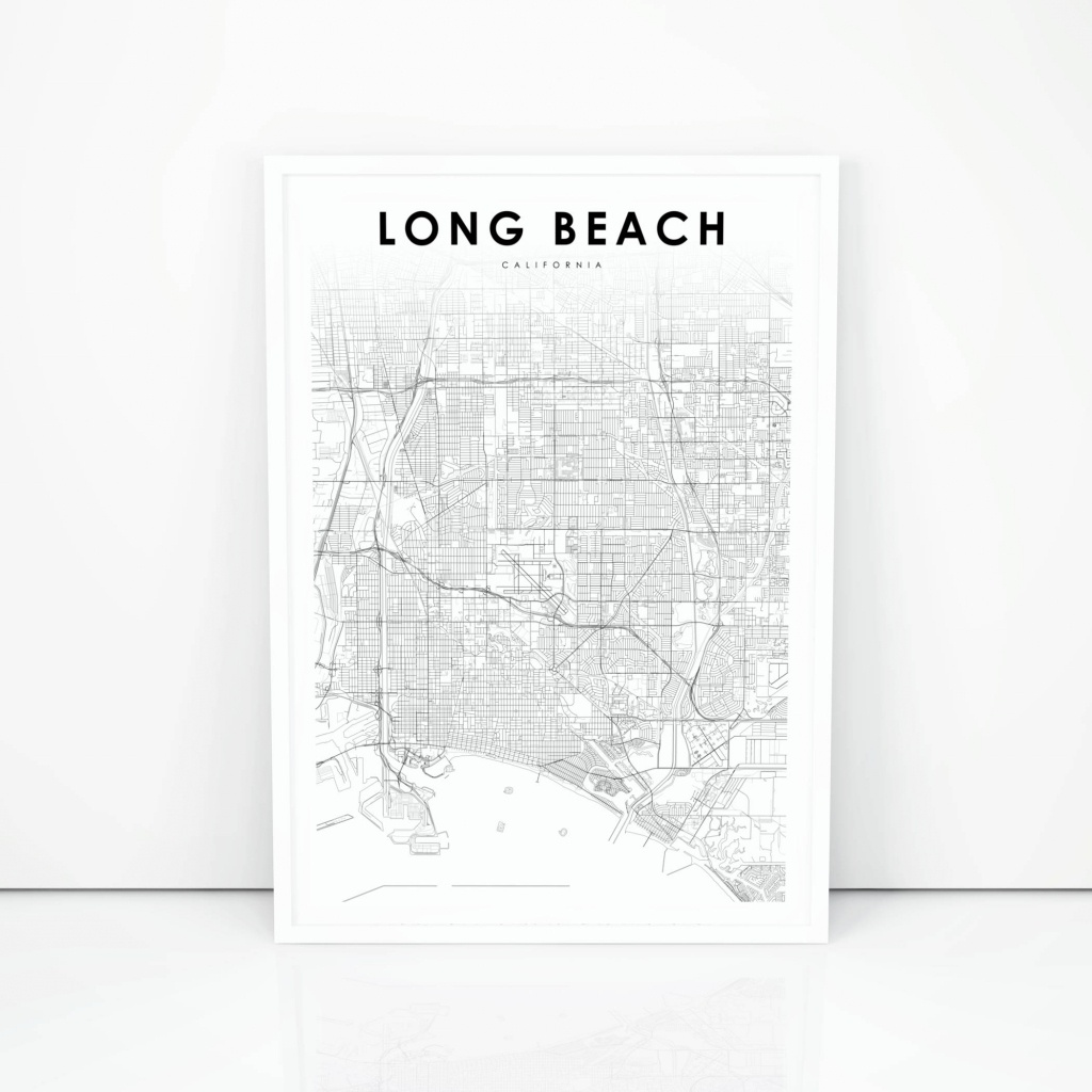 Long Beach Map Print California Ca Usa Map Art Poster City | Etsy - Printable Map Of Long Beach Ca