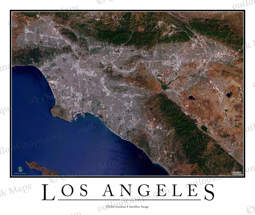 Los Angeles, Ca Area Satellite Map Print | Aerial Image Poster - California Map Satellite
