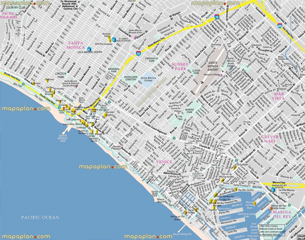 Los Angeles Map - California Santa Monica Bay, Venice Beach - Map Of Venice California Area