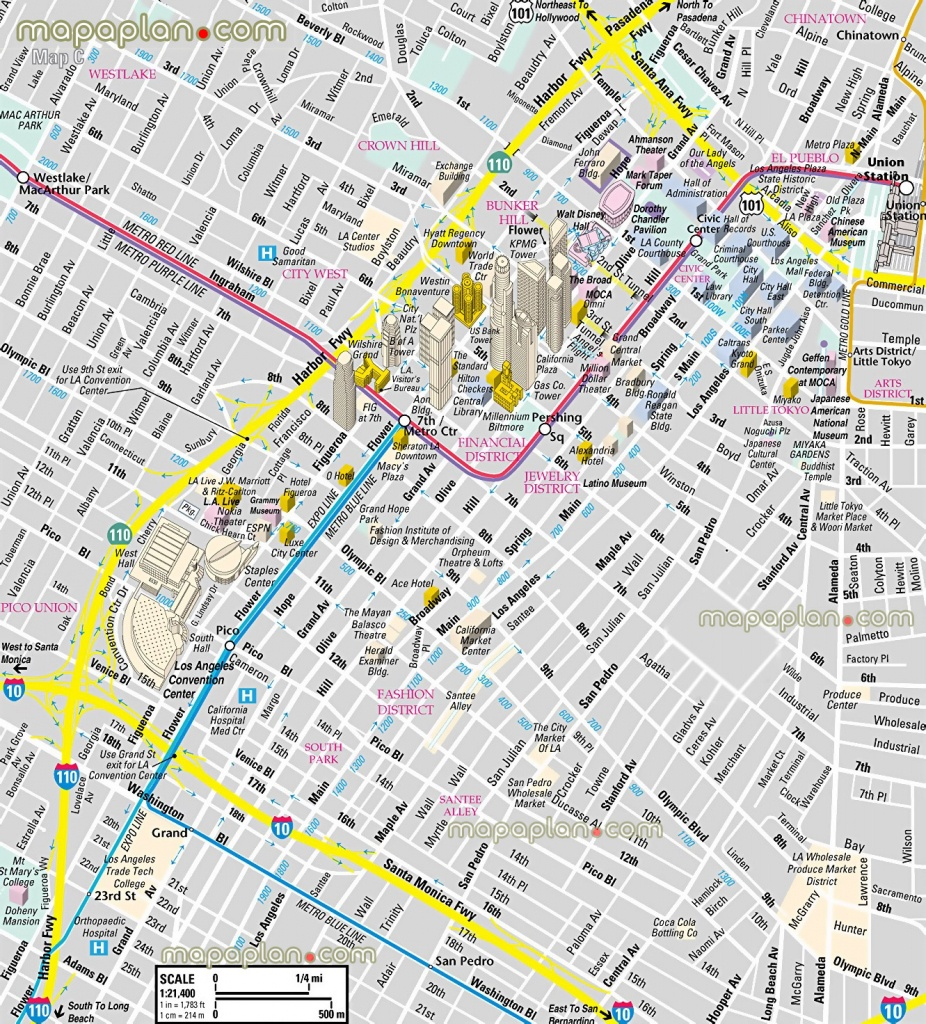 Los Angeles Map - Downtown Financial District - 3D Bird's Eye Aerial - Free Printable Satellite Maps