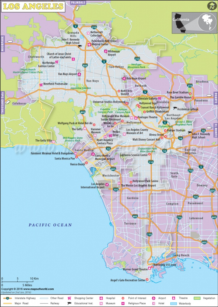 Los Angeles Map, Map Of Los Angeles City, California, La Map - Map Of La California