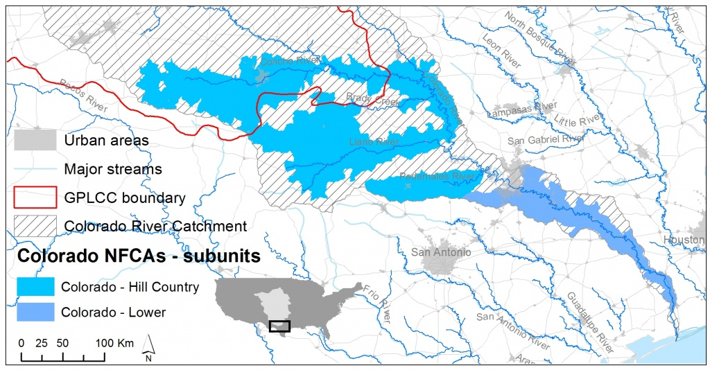 Lower Colorado River | Native Fish Conservation - Colorado River Map Texas