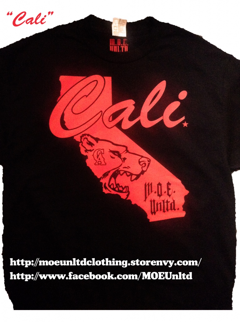 M.o.e. Unltd. Clothing | Cali Men's Black/red T-Shirt | Online - California Map T Shirt