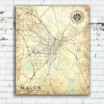 Macon Ga Canvas Print Georgia Ga Vintage Map Macon Ga City Map | Etsy   Printable Map Of Macon Ga