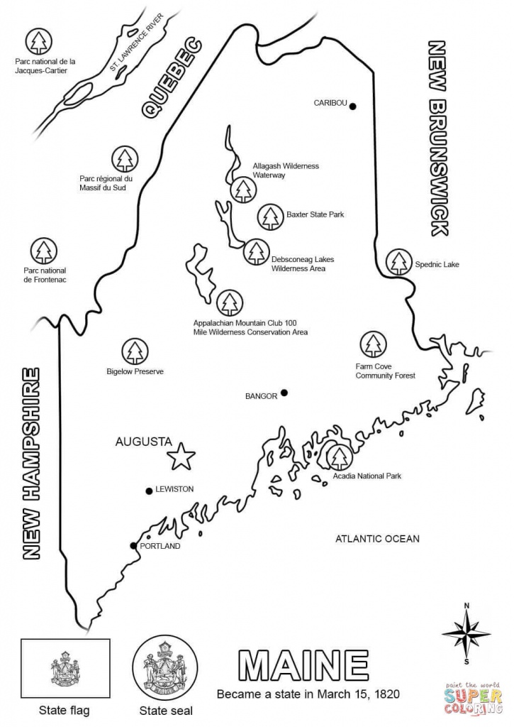 Maine Map Coloring Page   Free Printable Coloring Pages - Maine State Map Printable