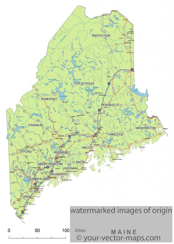 Maine State Route Network Map. Maine Highways Map. Cities Of Maine - Maine State Map Printable
