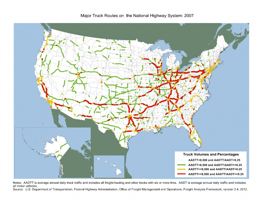 Major Truck Routes On The National Highway System: 2007 - Fhwa - California Truck Routes Map