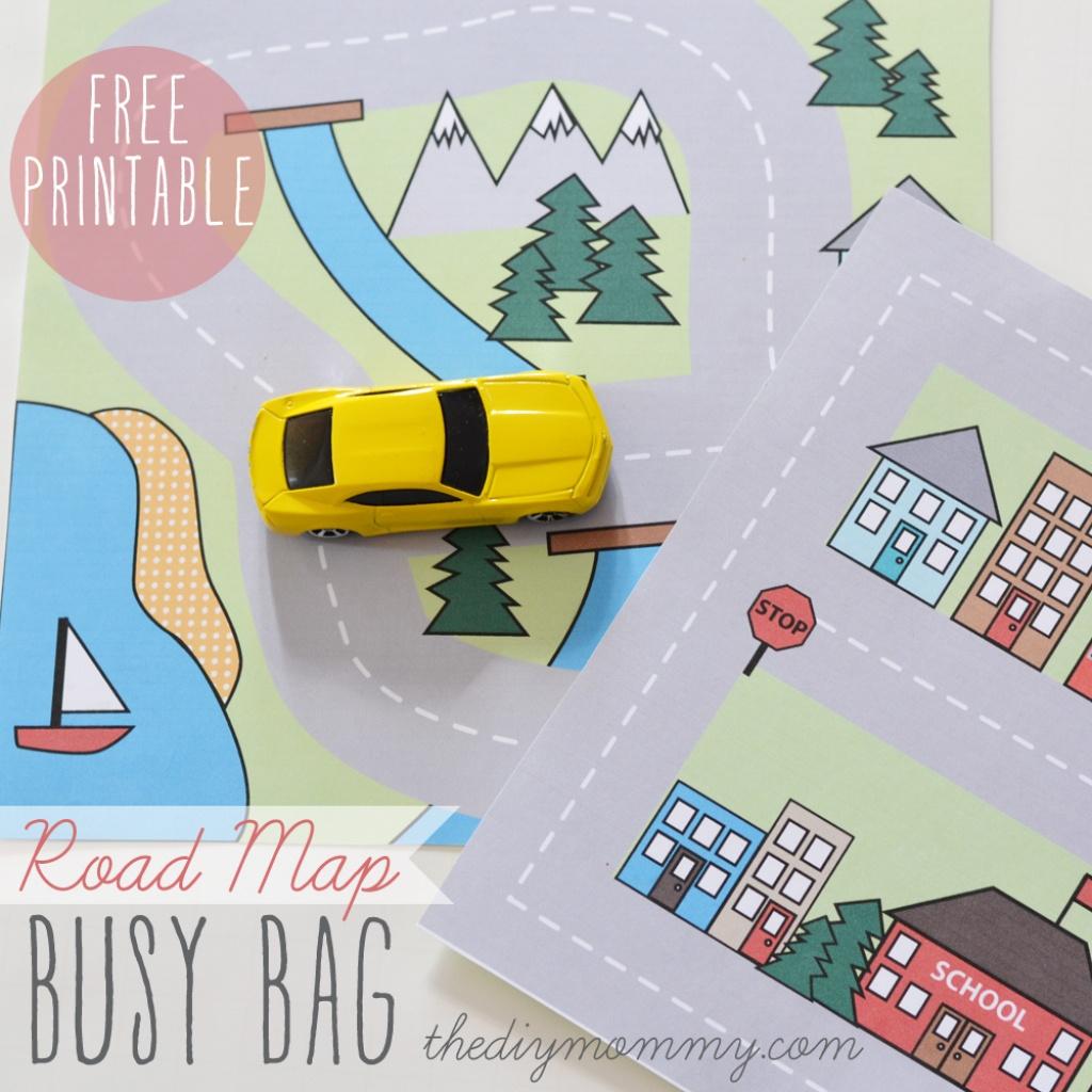 Make A Mini Road Map Busy Bag - Free Printable   The Diy Mommy - Printable Travel Maps