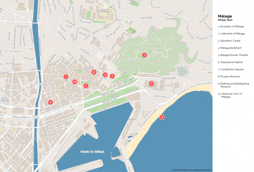 Malaga Attractions Map Pdf - Free Printable Tourist Map Malaga - Printable Street Map Of Nerja Spain