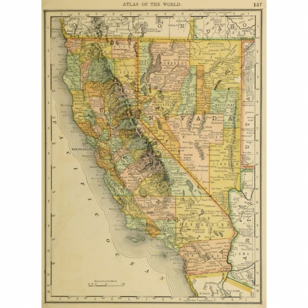 Map - California And Nevada, 1887 - Original Art, Antique Maps & Prints - Antique Map Of California