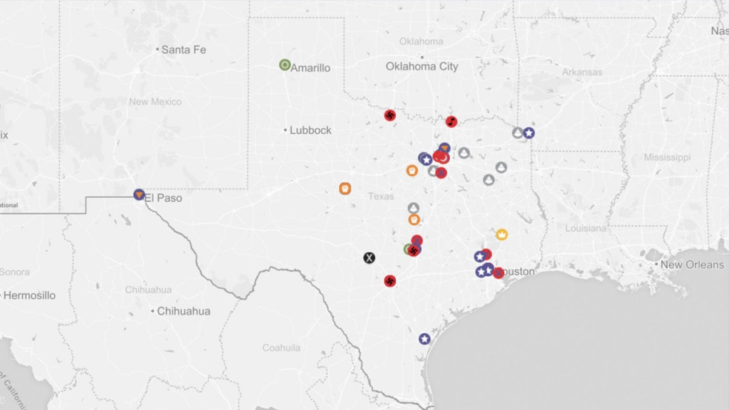 Map Details Where Texas Hate Groups Are In 2018 - Map Of Hate Groups In Texas
