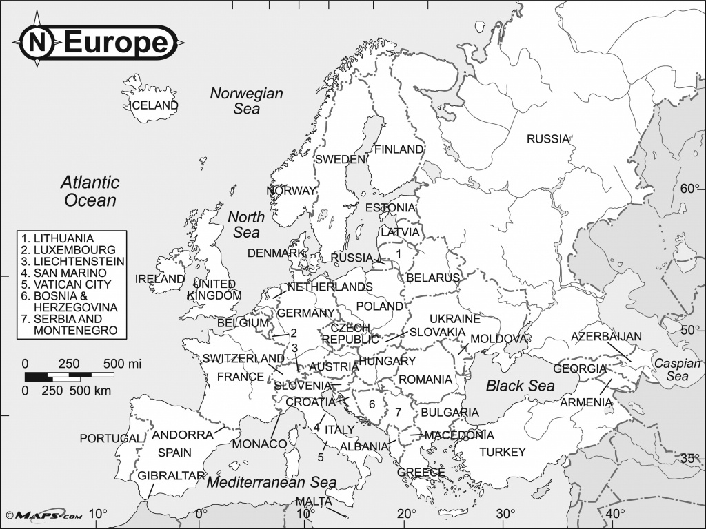 Map Europe Black And White | Sitedesignco - Europe Map Black And White Printable