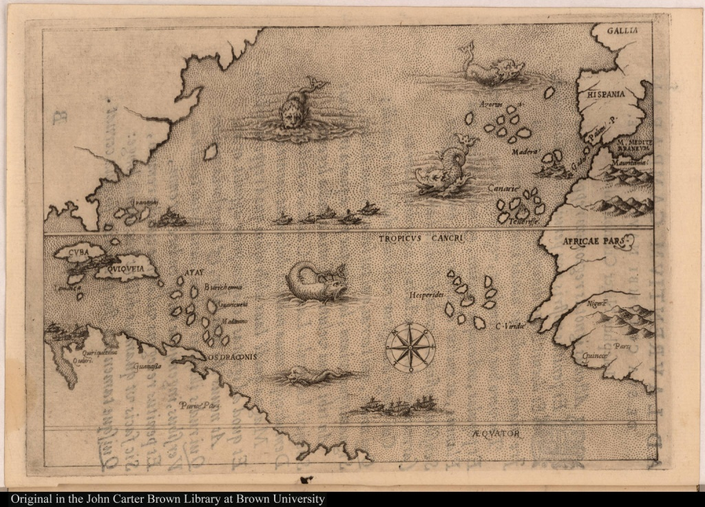 Map Illustrating The Voyage Of Christopher Columbus] - Jcb Map - Printable Map Of Christopher Columbus Voyages