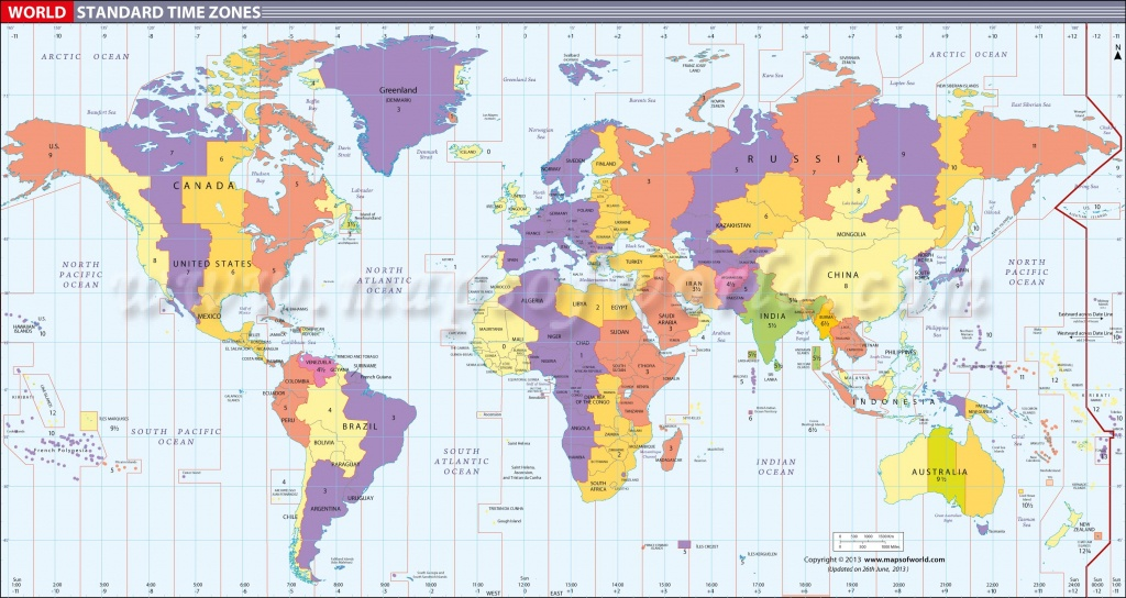 Map In Large Print Of The World Inpinks | Free Printable World Time - Maps With Time Zones Printable