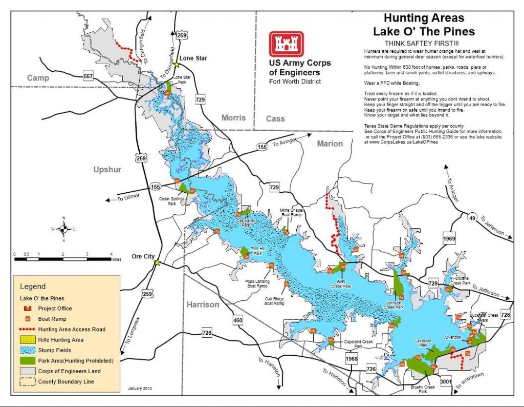 Map   Lake O' The Pines - Texas Lake Maps Fishing