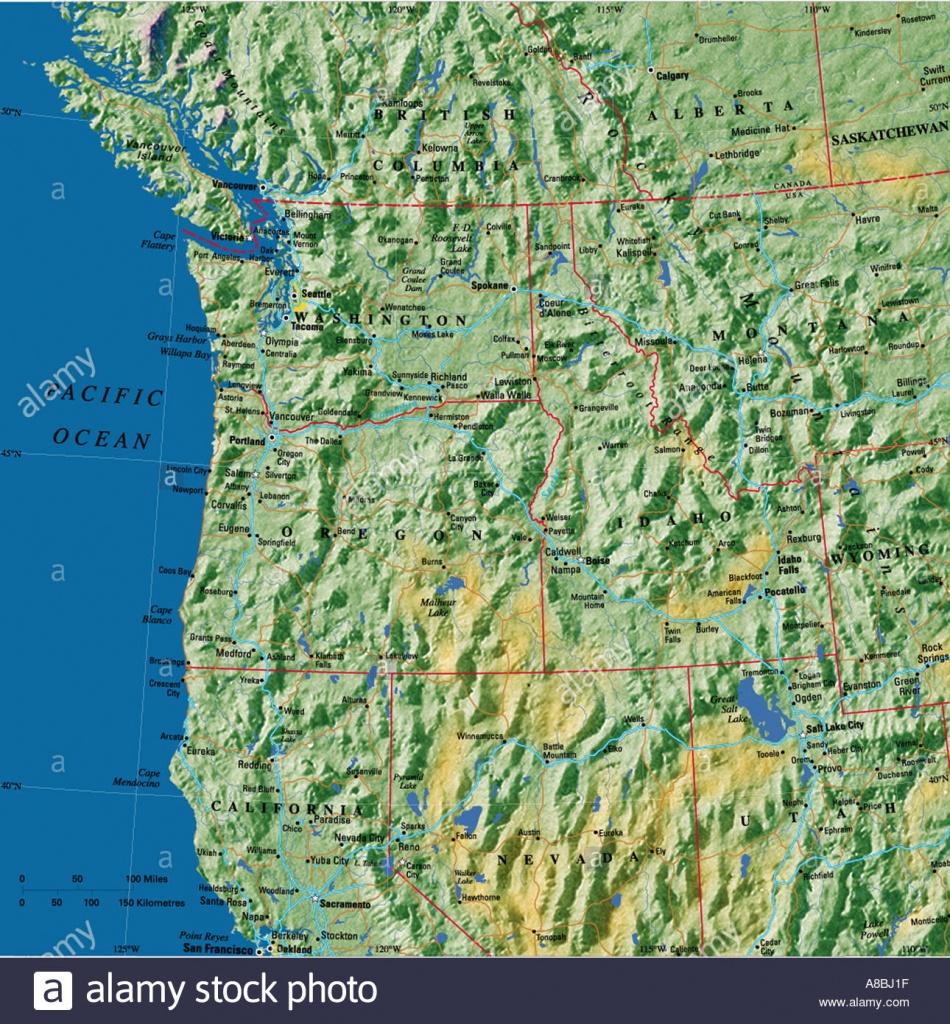 Map Maps Usa California Oregon Washington State East Coast Stock - Washington Oregon California Coast Map