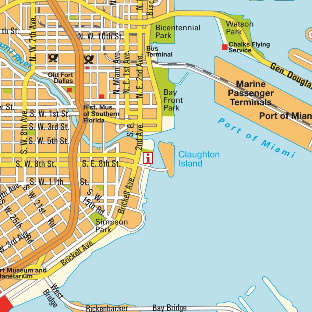 Map Miami Fl And Miami Beach, Florida, Usa (City Center). City - Map Of Miami Beach Florida