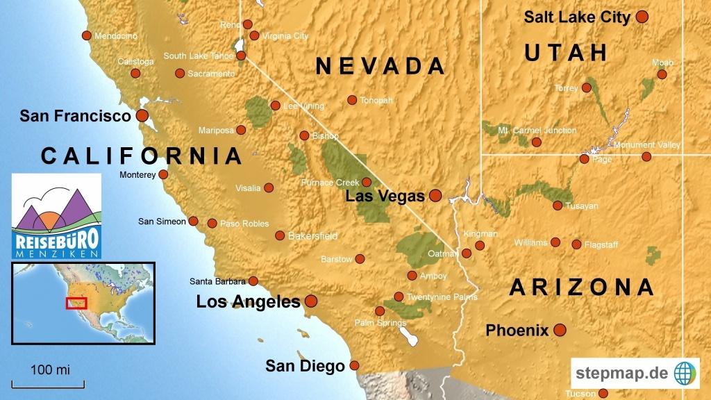 Map Nevada Arizona Utah Map Of California Springs Map Of California - California Nevada Arizona Map