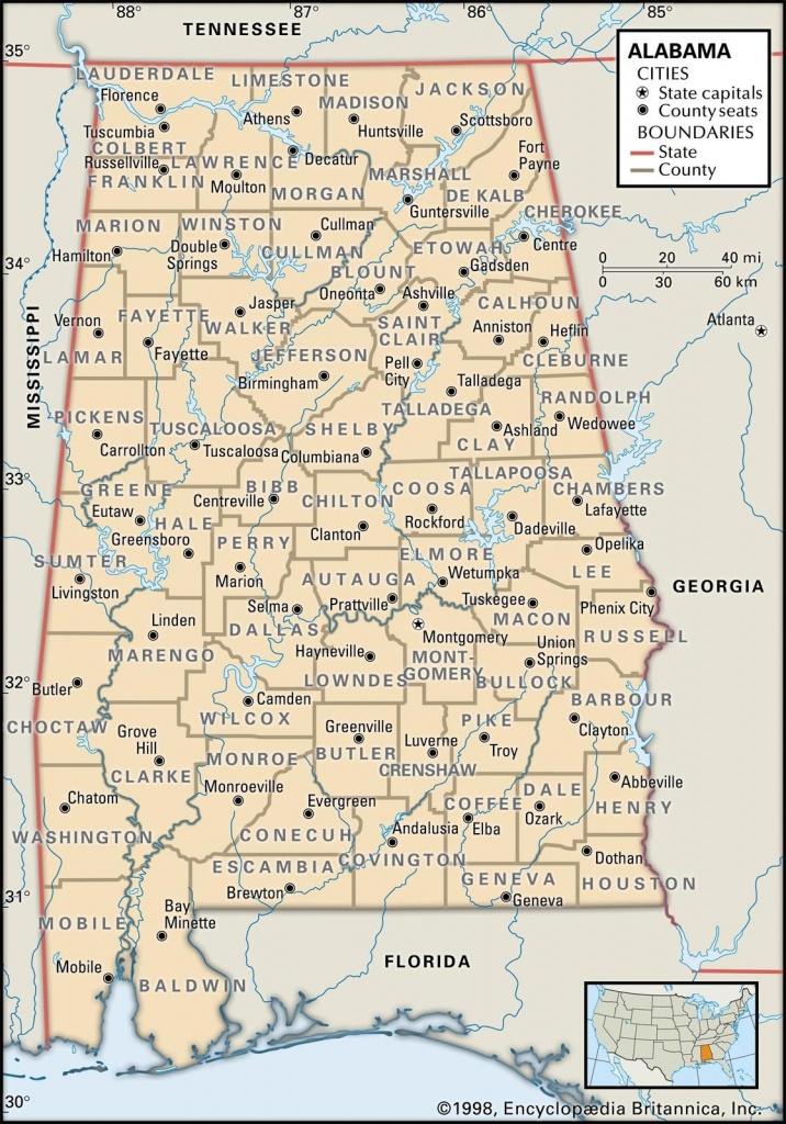 Map Of Alabama County Boundaries And County Seats. | Genealogy - Alabama State Map Printable