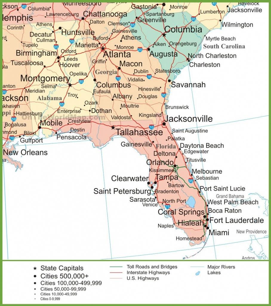 Map Of Alabama, Georgia And Florida - Florida North Map