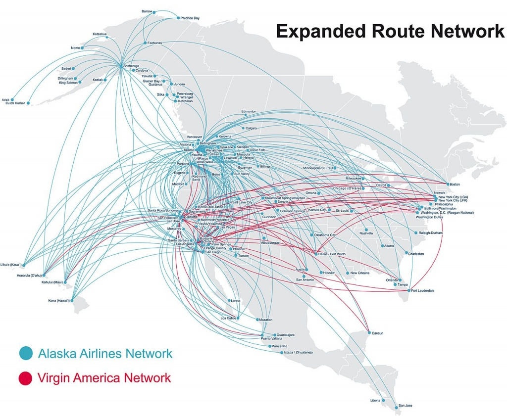 Map Of Alaska Airlines Flights | Map Of Us Western States - Alaska Airlines Printable Route Map