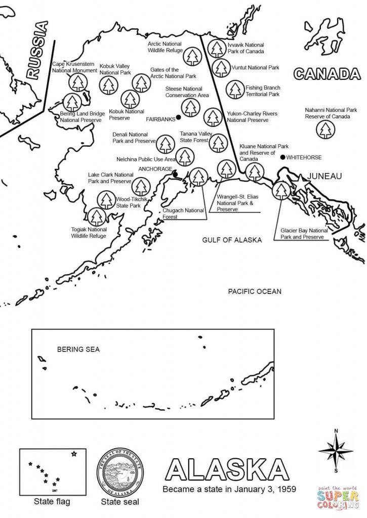 Map Of Alaska Coloring Page | Free Printable Coloring Pages - Free Printable Map Of Alaska