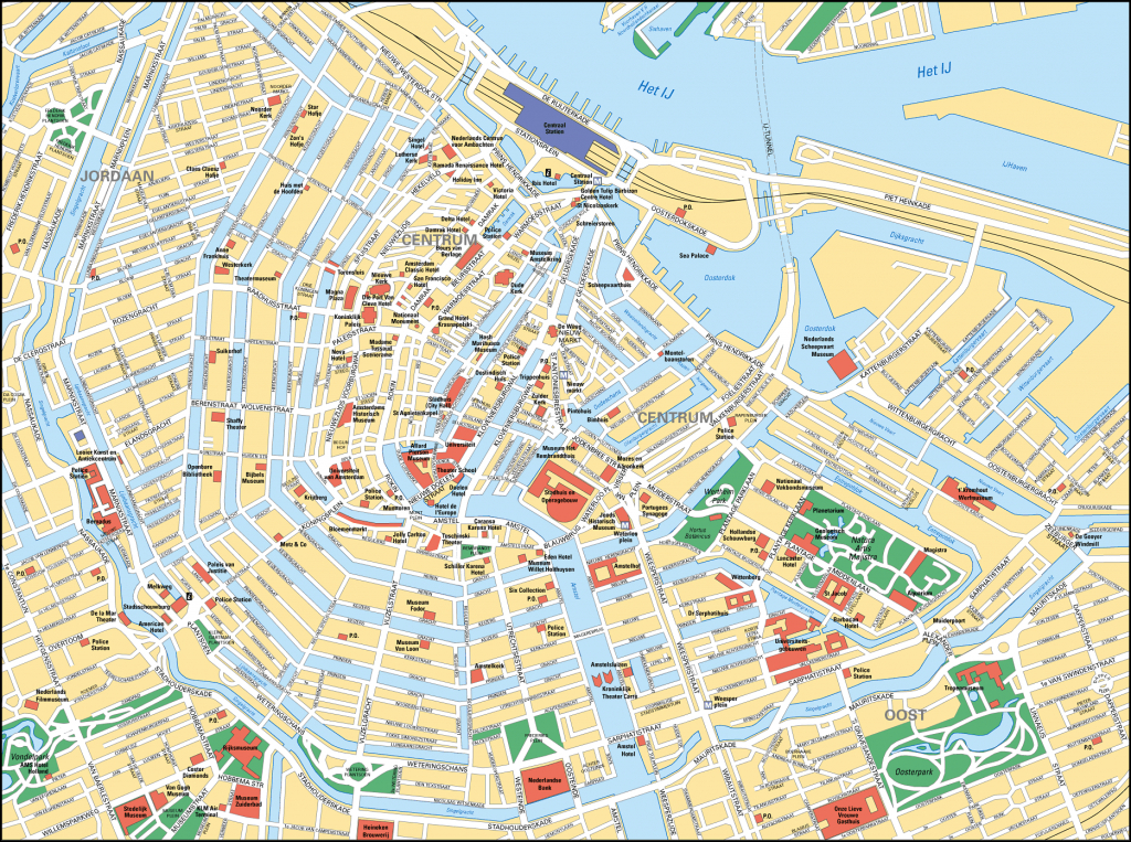 Map Of Amsterdam Tourist Attractions, Sightseeing & Tourist Tour - Printable Map Of Amsterdam