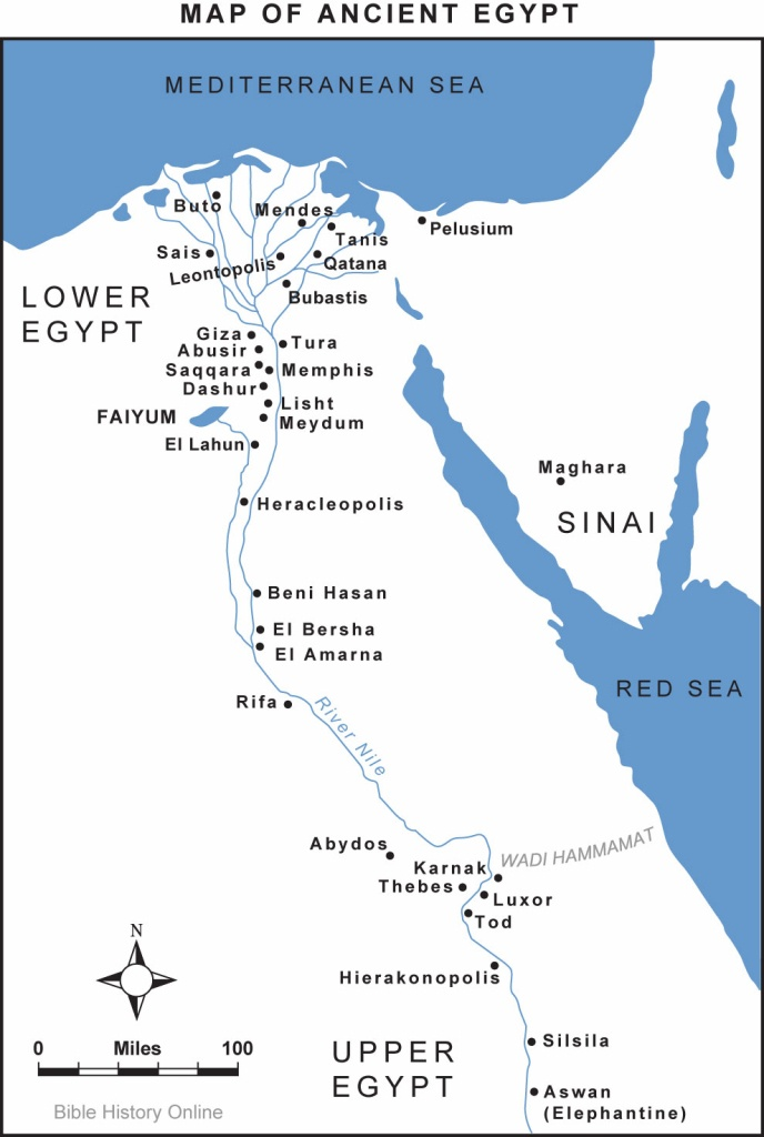 Map Of Ancient Egypt (Bible History Online) - Ancient Egypt Map Printable